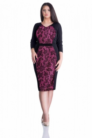 Rochie de zi cu imprimeu din catifea Caterina, negru/ciclam0