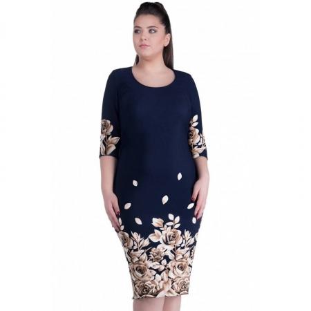 Rochie de zi cu imprimeu floral Anisoara, bleumarin/bej