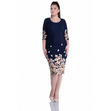 Rochie de zi cu imprimeu floral Anisoara, bleumarin/bej - marimi mici