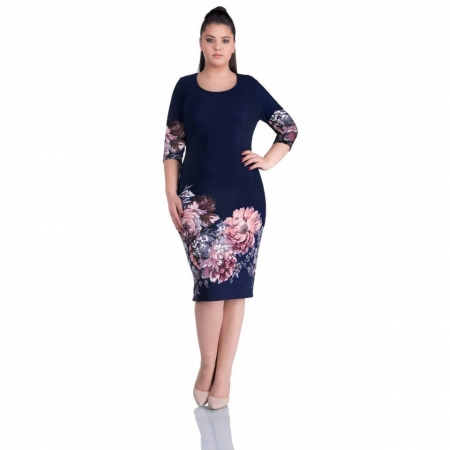 Rochii casual - Rochie de zi cu imprimeu floral Anisoara bleumarin
