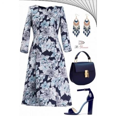 Rochie de zi cu imprimeu floral Cali, bleumarin/alb - marimi mici