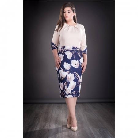Rochie de zi cu imprimeu floral Carlota, bleumarin