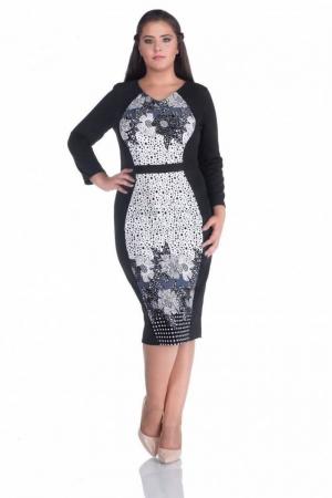 Rochie de zi cu imprimeu floral Caterina, negru0