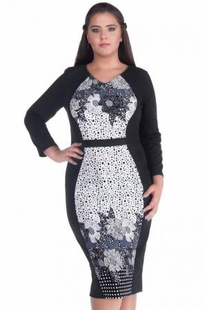 Rochie de zi cu imprimeu floral Caterina, negru1