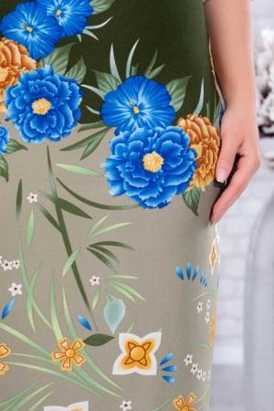 Rochie de zi cu imprimeu floral marimi mari Augusta, kaki2