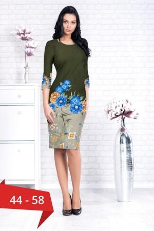 Rochie de zi cu imprimeu floral marimi mari Augusta, kaki0