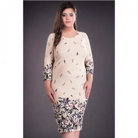 Rochie de zi cu imprimeu floral marimi mari Margareta, crem1
