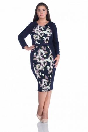 Rochie de zi cu imprimeu floral Melisa, bleumarin/mov0