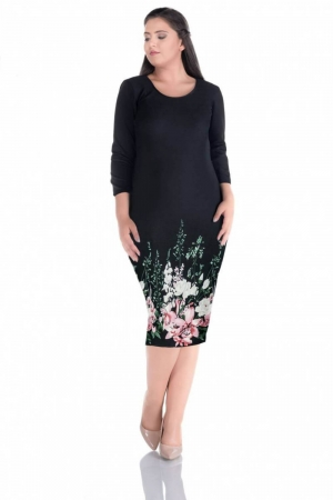 Rochie de zi cu imprimeu floral Sarina, negru/floral0