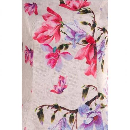 Rochie de zi cu imprimeu floral Silvia, crem