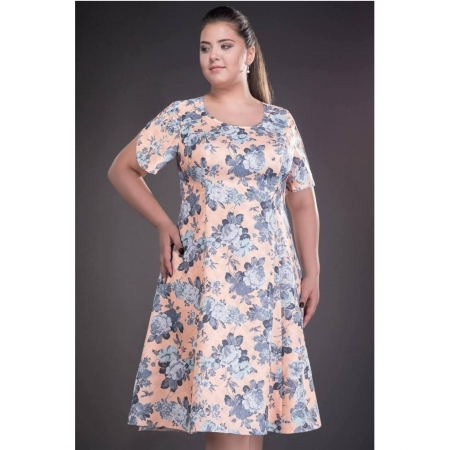 Rochie de zi cu imprimeu floral Silvia, somon1