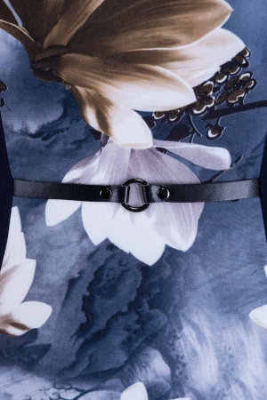 Rochie de zi cu imprimeu floral Vera, bleumarin