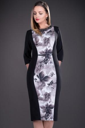 Rochie de zi cu imprimeu floral Vera, negru