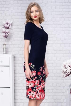Rochie de zi cu imprimeu floral Zamfira, bleumarin1