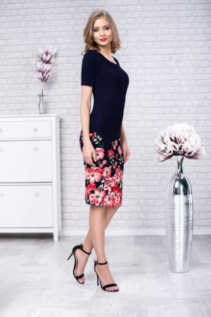 Rochie de zi cu imprimeu floral Zamfira, bleumarin0