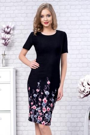 Rochie de zi cu imprimeu floral Zamfira, negru