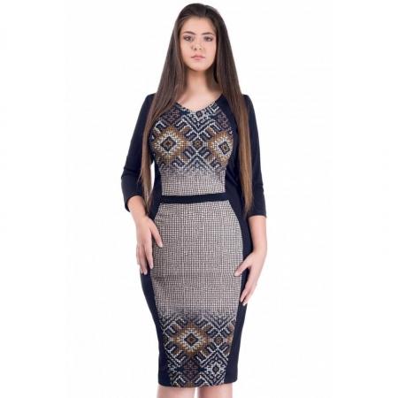 Rochie de zi cu imprimeu geometric Melisa, negru