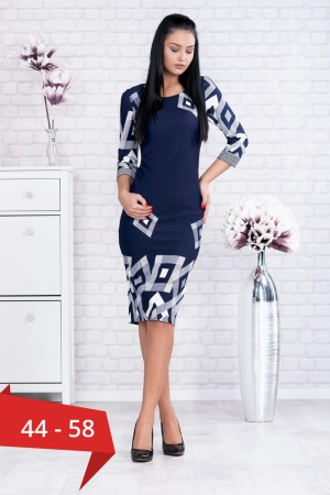 Rochie de zi cu imprimeu geometric Samantha, bleumarin0