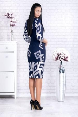 Rochie de zi cu imprimeu geometric Samantha, bleumarin1