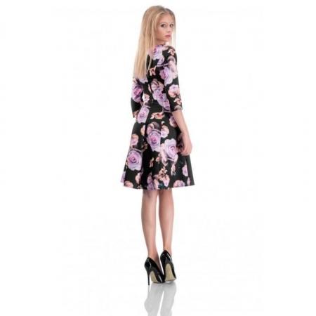Rochie de zi in clini imprimeu floral Cali, negru cu trandafiri