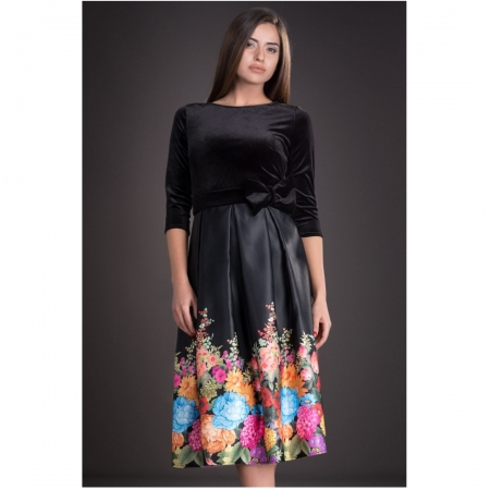 Rochie din catifea cu imprimeu floral Imani, negru1