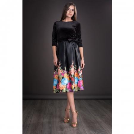 Rochie din catifea cu imprimeu floral Imani, negru0
