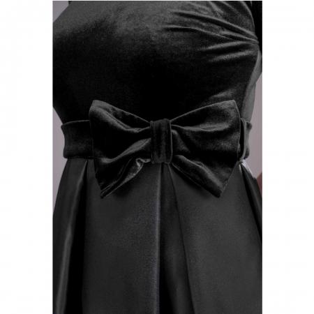 Rochie din catifea cu imprimeu floral Imani, negru2