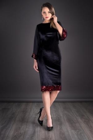 Rochie din catifea cu paiete marimi mari Doria, negru/rosu0