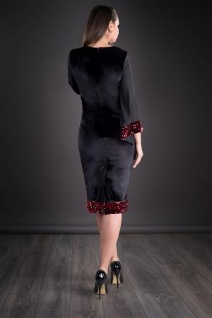Rochie din catifea cu paiete marimi mari Doria, negru/rosu2