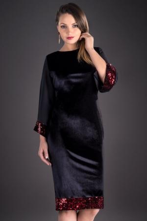 Rochie din catifea cu paiete marimi mari Doria, negru/rosu1