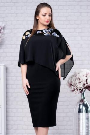Rochie eleganta cu blazer imprimeu floral Lora, negru1