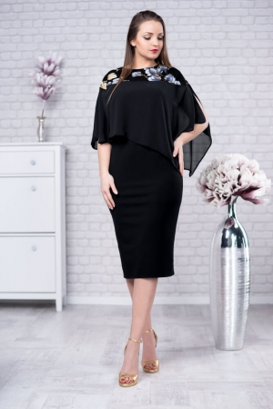 Rochie eleganta cu blazer imprimeu floral Lora, negru0