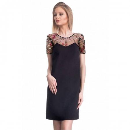 Rochie eleganta cu broderie florala Nia, negru/flori mici1