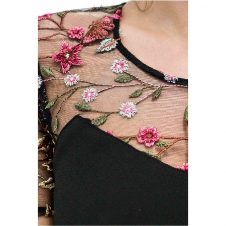 Rochie eleganta cu broderie florala Nia, negru/flori mici2