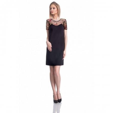 Rochie eleganta cu broderie florala Nia, negru/flori mici
