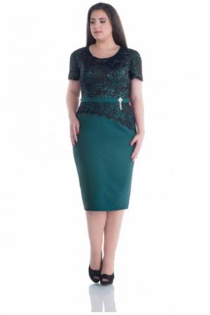 Rochie eleganta de ocazie cu dantela Adania, verde/negru0