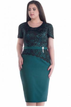 Rochie eleganta de ocazie cu dantela Adania, verde/negru1