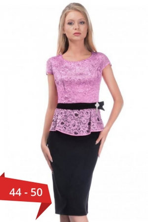Rochie eleganta de ocazie din dantela Margareta, negru/lila0