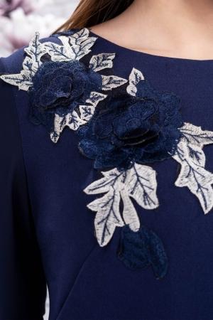 Rochie eleganta de seara cu aplicatii brodate Naomi, bleumarin