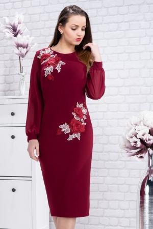 Rochie eleganta de seara cu flori brodate Naomi, marsala