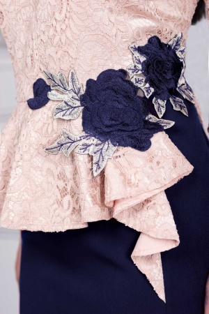 Rochie eleganta de seara din dantela Edith, albastru/ivory2