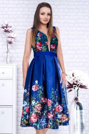 Rochie eleganta de seara din tafta cu corset Luana, albastru