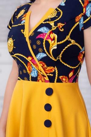 Rochie eleganta de zi Amanda, galben mustar/bleumarin3