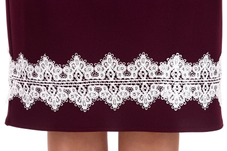 Rochie eleganta de zi cu aplicatii dantela Ava, marsala