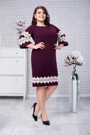 Rochie eleganta de zi cu aplicatii dantela Ava, mov pruna