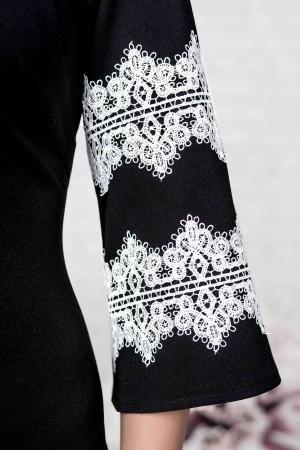 Rochie eleganta de zi cu aplicatii dantela Ava, negru