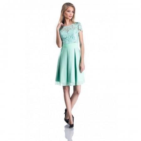 Rochie eleganta din dantela si tul Bella, verde menta