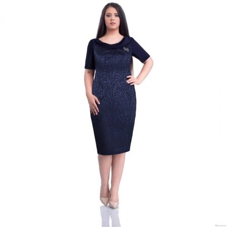 Rochie eleganta de ocazie XXL ieftina Dorina, bleumarin