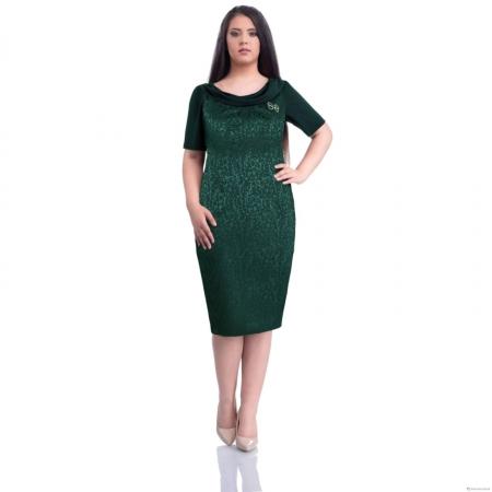 Rochie eleganta din jaquard Dorina, verde0