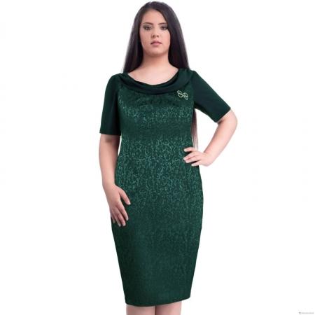 Rochie eleganta din jaquard Dorina, verde1